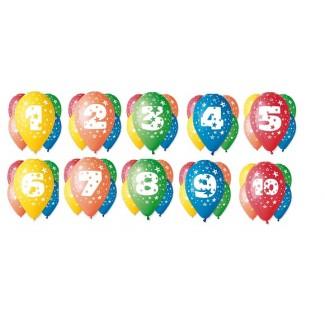 Balony urodzinowe cyfry 1 do 10